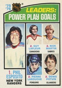 1976-77 O-Pee-Chee #5 Power Play Goals/Leaders/Phil Esposito/Guy Lafleur/Richard Martin/Pierre Larouche/Denis Potvin
