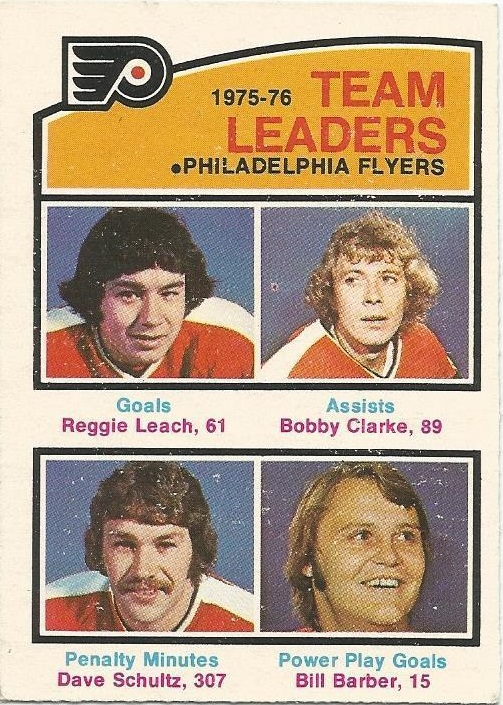 1976-77 O-Pee-Chee #391 Flyers Leaders/Reggie Leach/Bobby Clarke/Dave Schultz/Bill Barber