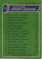 1976-77 Topps #2 Assists Leaders/Bobby Clarke/Peter Mahovlich/Guy Lafleur/Gilbert Perrault/Jean Ratelle back image
