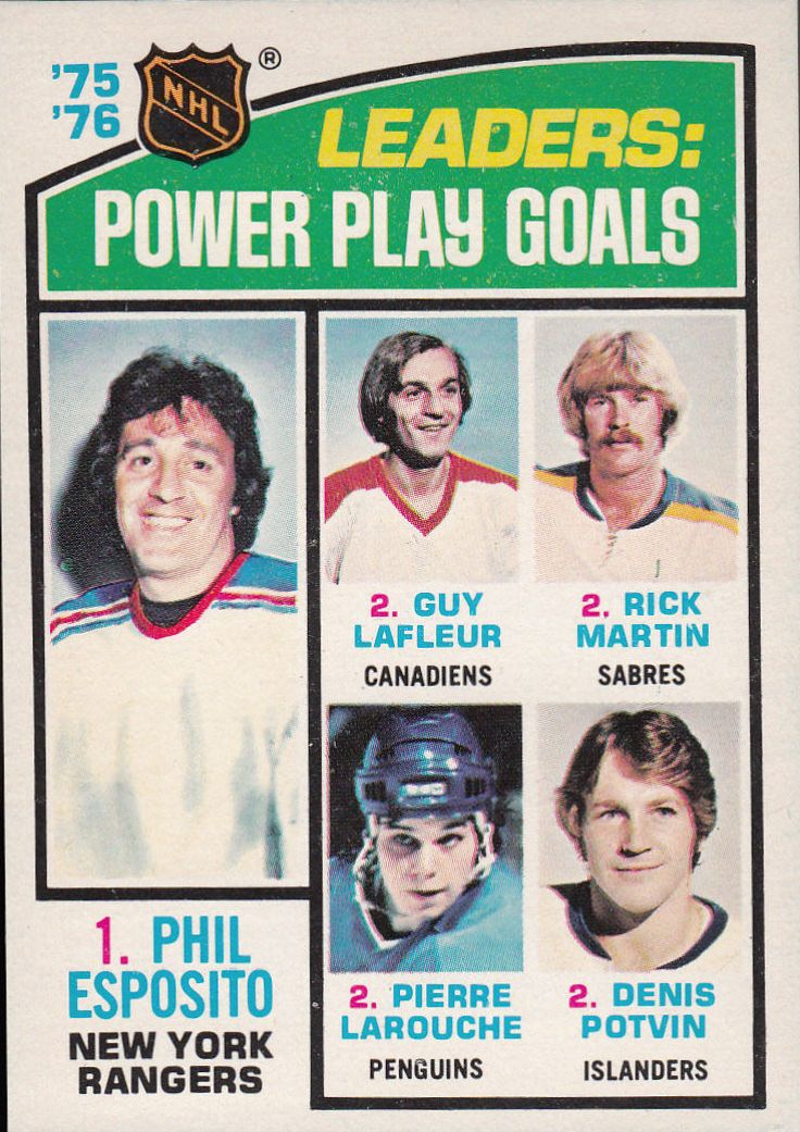 1976-77 Topps #5 Power Play Goals/Leaders/Phil Esposito/Guy Lafleur/Richard Martin/Pierre Larouche/Denis Potvin