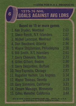 1976-77 Topps #6 Goals Against/Average Leaders/Ken Dryden/Glenn Resch/Michel Larocque back image