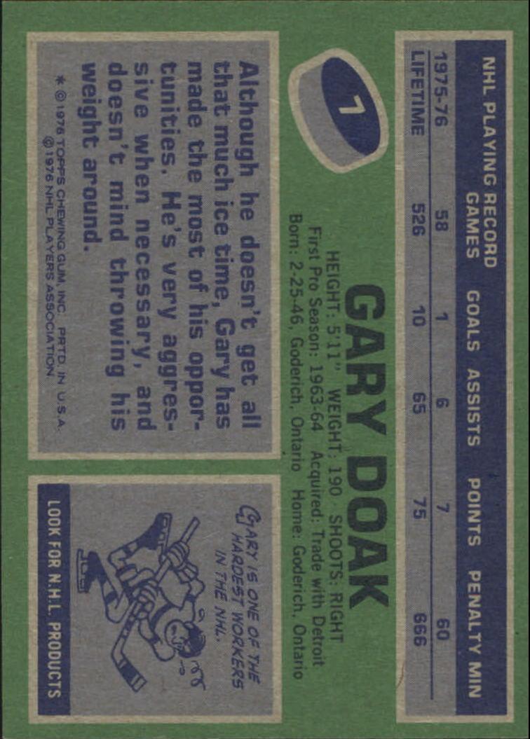1976-77 Topps #7 Gary Doak back image