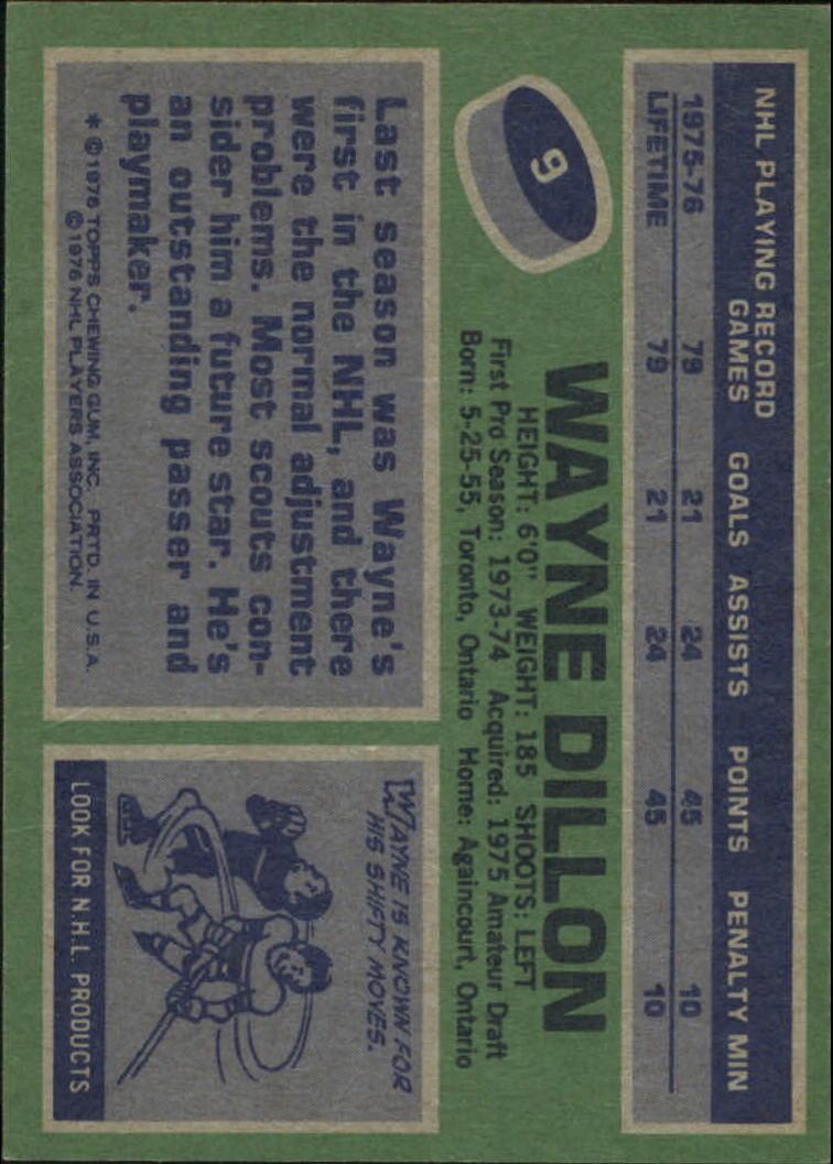 1976-77 Topps #9 Wayne Dillon back image