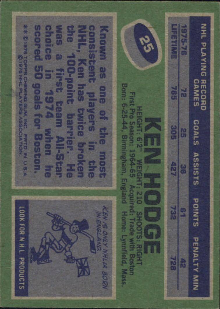 1976-77 Topps #25 Ken Hodge back image