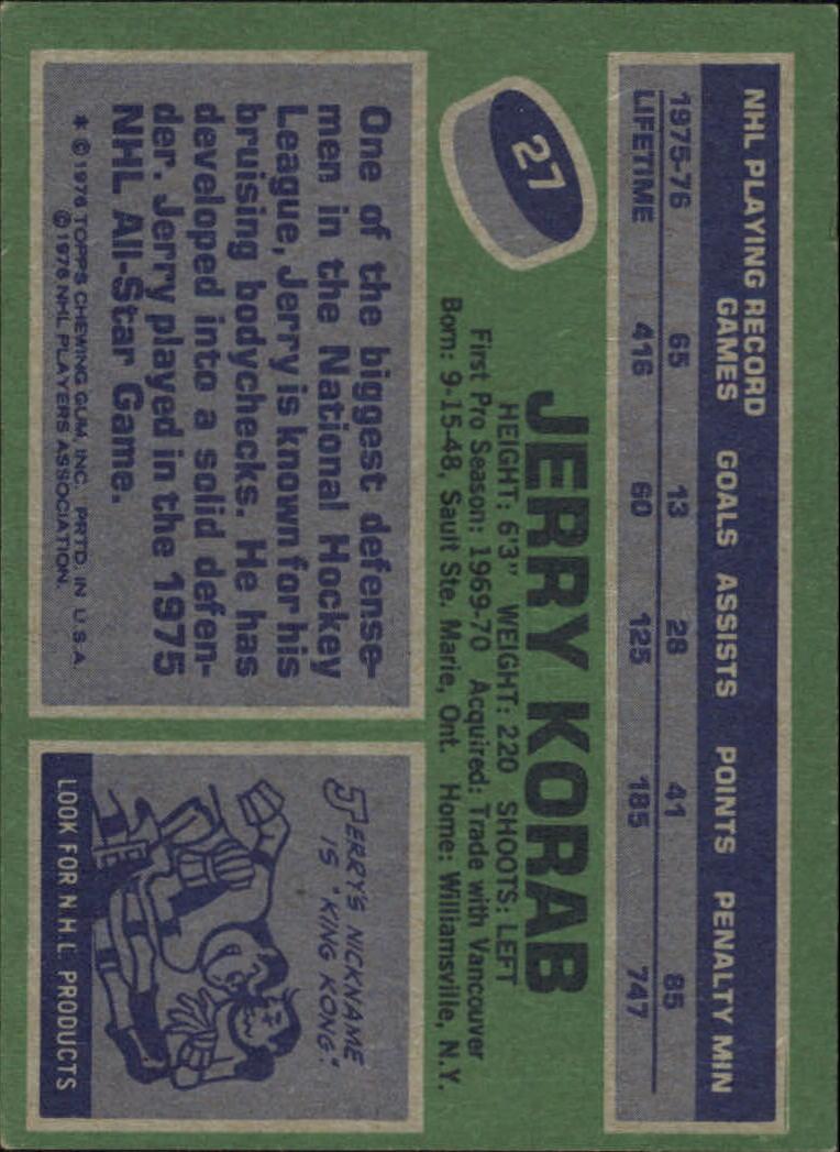 1976-77 Topps #27 Jerry Korab back image
