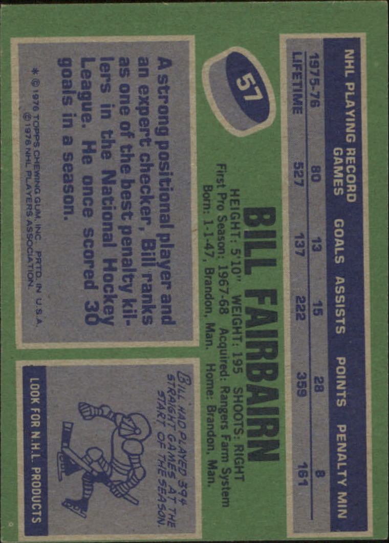 1976-77 Topps #57 Bill Fairbairn back image
