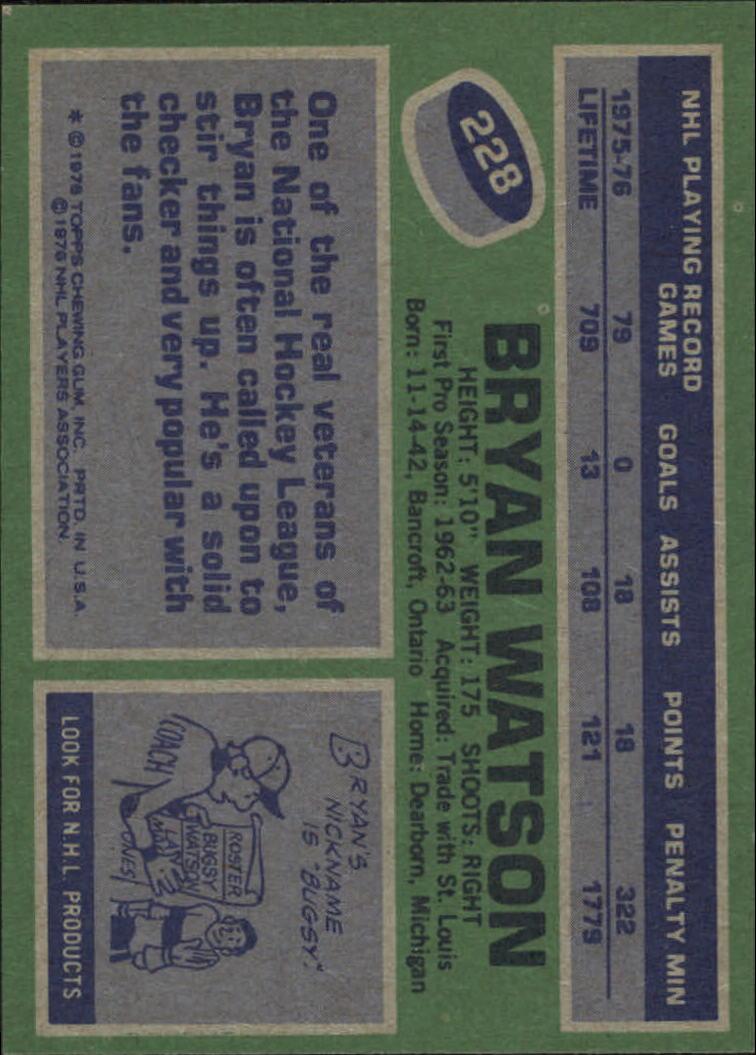 1976-77 Topps #228 Bryan Watson back image