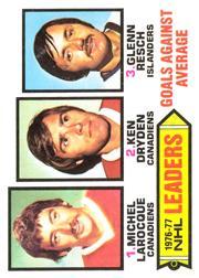 1977-78 O-Pee-Chee #6 Goals Against/Average Leaders/Michel Larocque/Ken Dryden/Glenn Resch