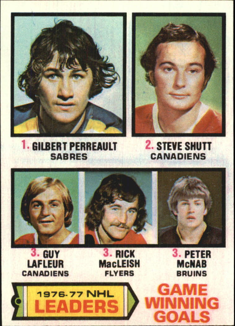 1977-78 Topps #7 Game Winning/Goals Leaders/Gilbert Perreault/Steve Shutt/Guy Lafleur/Rick MacLeish/Peter McNab