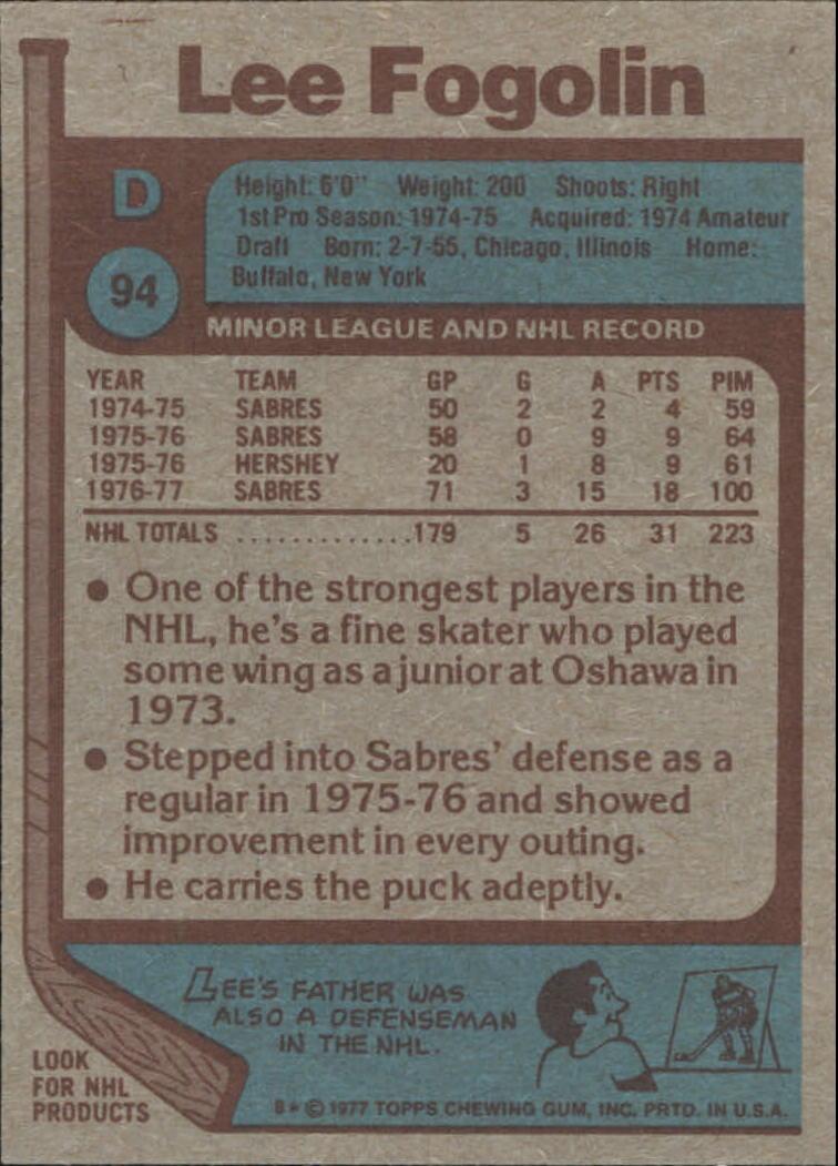 1977-78 Topps #94 Lee Fogolin back image