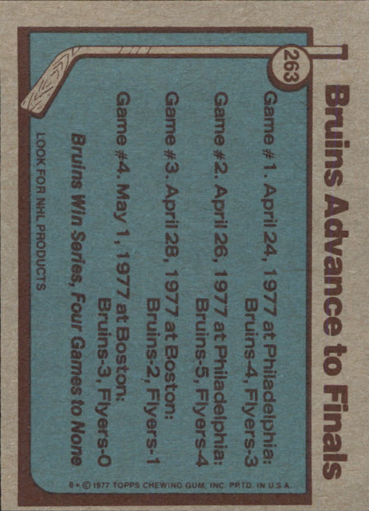 1977-78 Topps #263 Bruins Advance to Finals back image