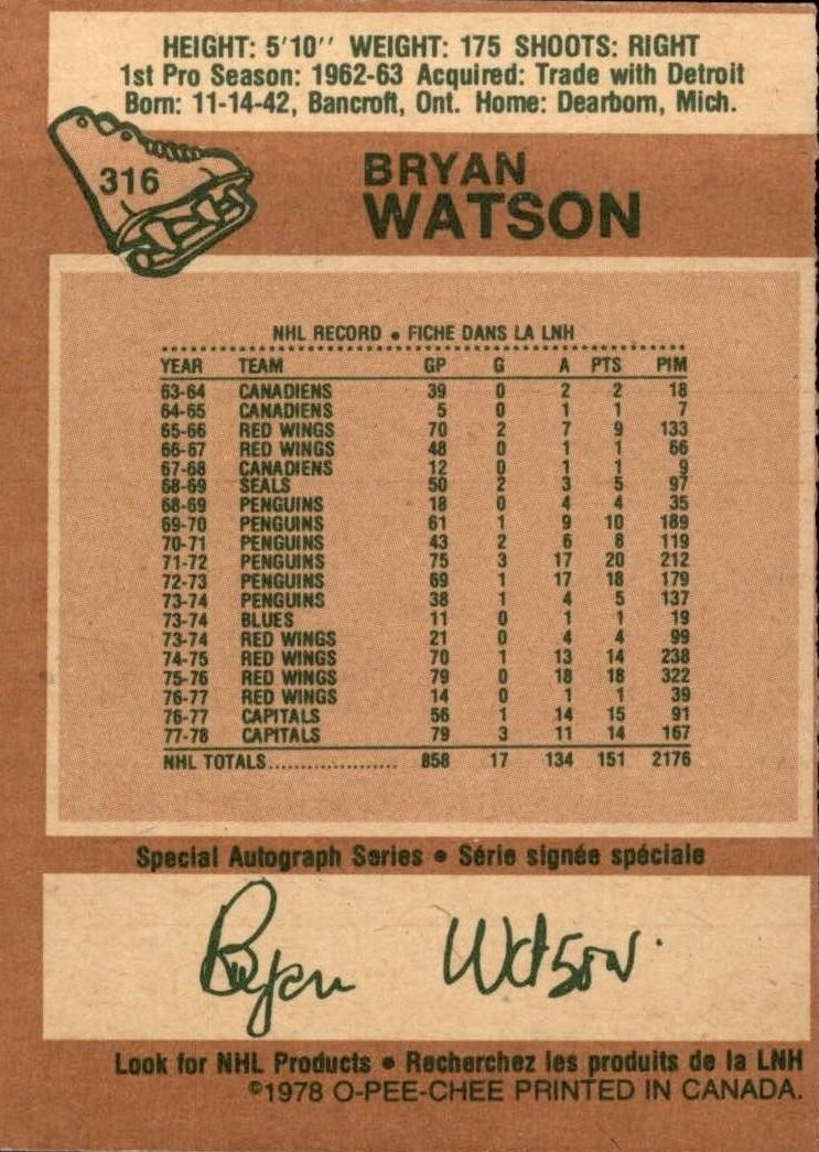 1978-79 O-Pee-Chee #316 Bryan Watson back image
