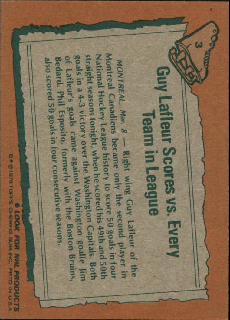 1978-79 Topps #3 Guy Lafleur HL back image