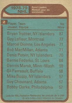 1979-80 O-Pee-Chee #2 Assist Leaders/Bryan Trottier/Guy Lafleur/Marcel Dionne/Bob MacMillan back image