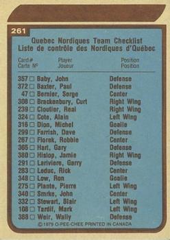 1979-80 O-Pee-Chee #261 Nordiques Team back image