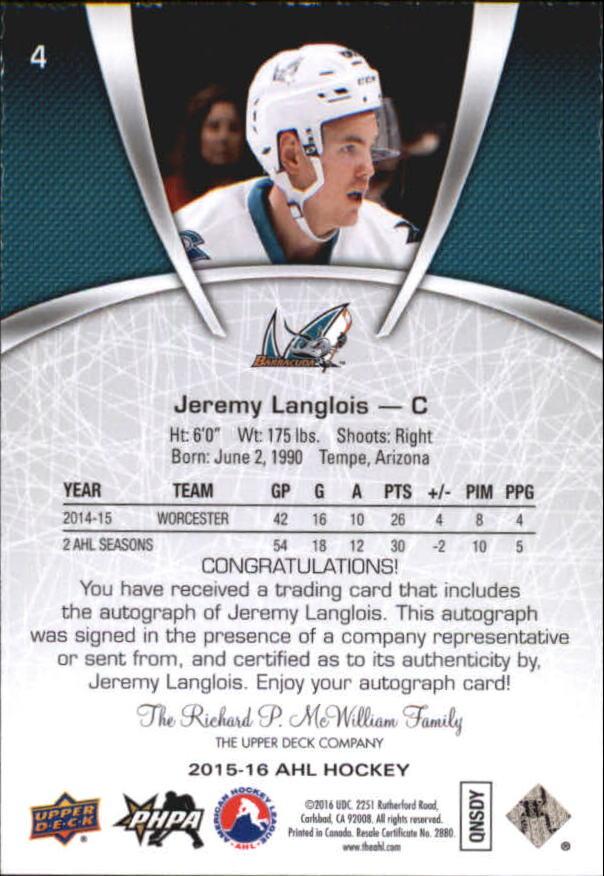 2015-16 Upper Deck AHL Autographs #4 Jeremy Langlois back image