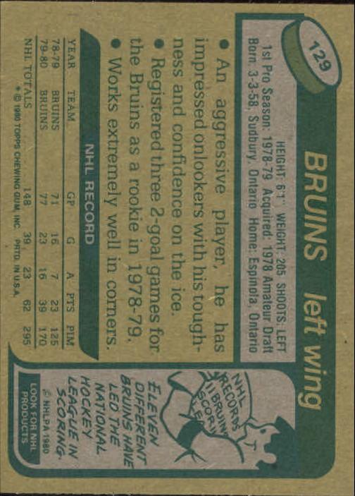 1980-81 Topps #129 Al Secord RC back image