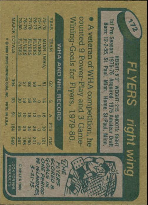 1980-81 Topps #172 Paul Holmgren back image
