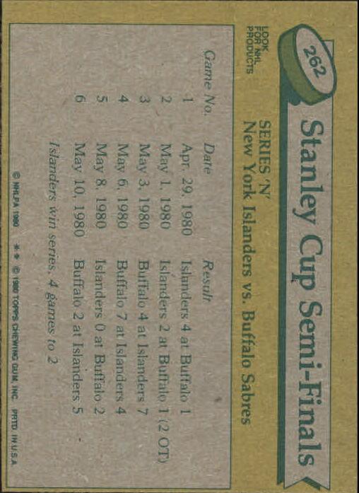 1980-81 Topps #262 Stanley Cup Semifinals/Islanders-Sabres back image
