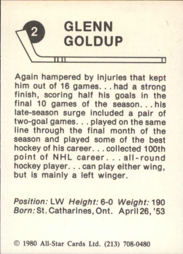 1980-81 Kings Card Night #2 Glenn Goldup back image