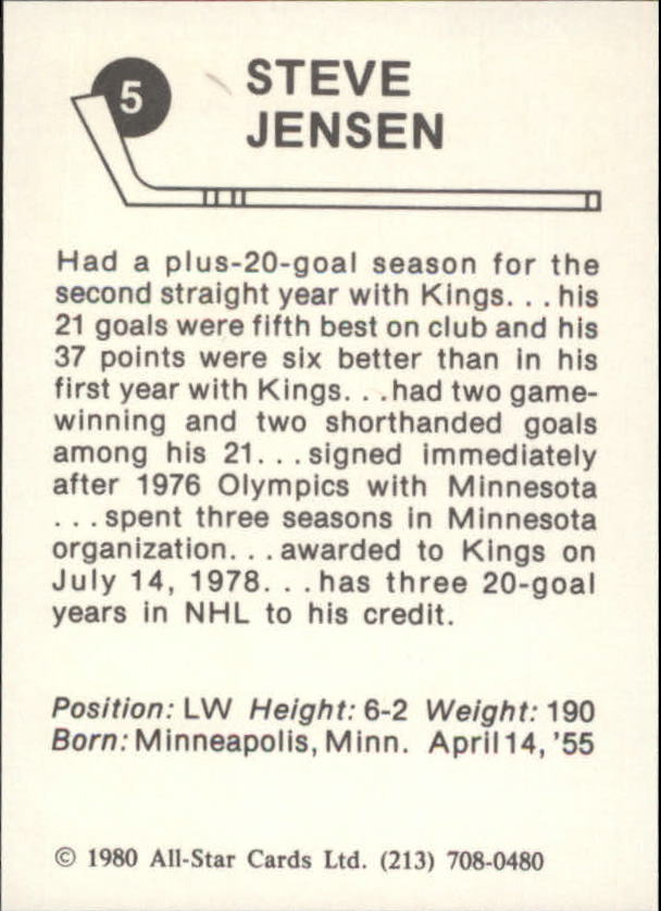 1980-81 Kings Card Night #5 Steve Jensen back image
