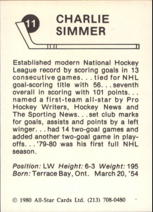 1980-81 Kings Card Night #11 Charlie Simmer back image