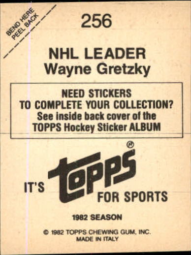 1982-83 Topps Stickers #256 Wayne Gretzky back image