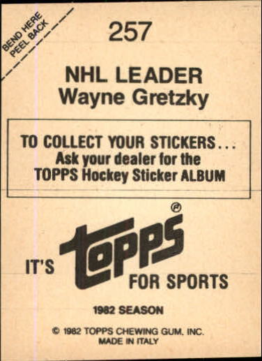 1982-83 Topps Stickers #257 Wayne Gretzky back image