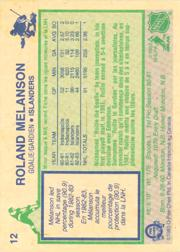 1983-84 O-Pee-Chee #12 Rollie Melanson RC back image