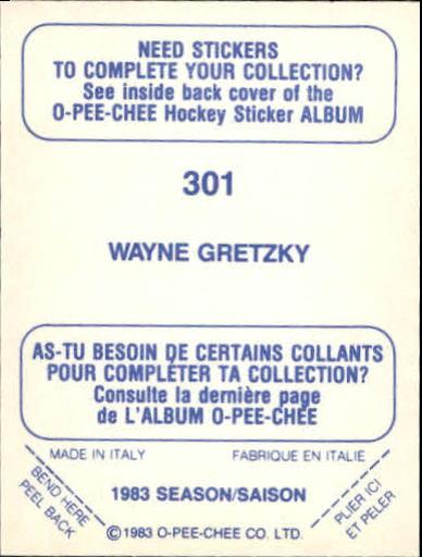 1983-84 O-Pee-Chee Stickers #301 Wayne Gretzky back image