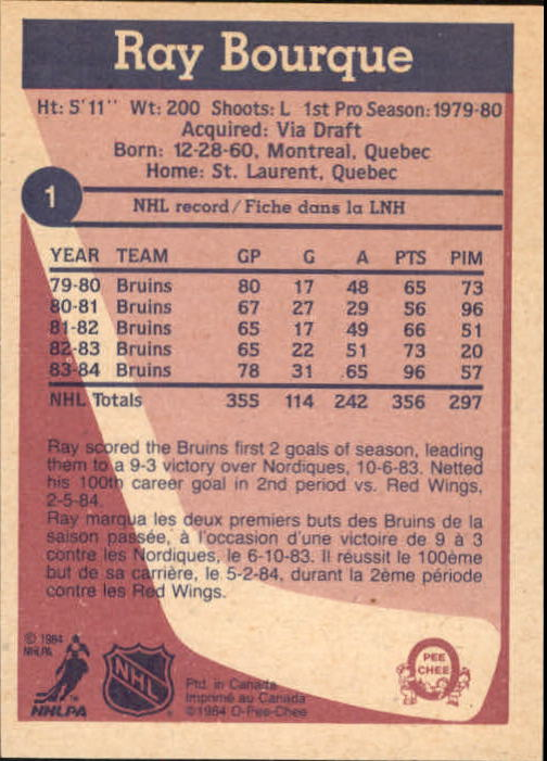 1984-85 O-Pee-Chee #1 Ray Bourque back image