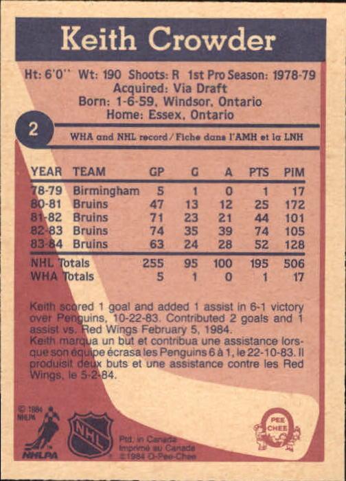 1984-85 O-Pee-Chee #2 Keith Crowder back image