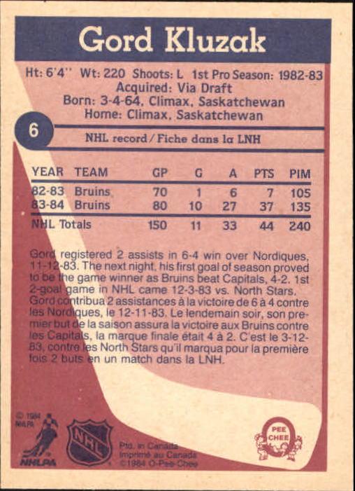 1984-85 O-Pee-Chee #6 Gord Kluzak back image
