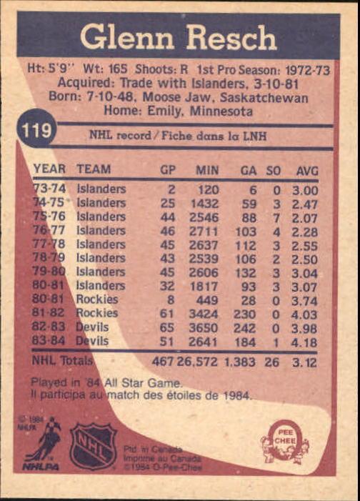 1984-85 O-Pee-Chee #119 Glenn Resch back image