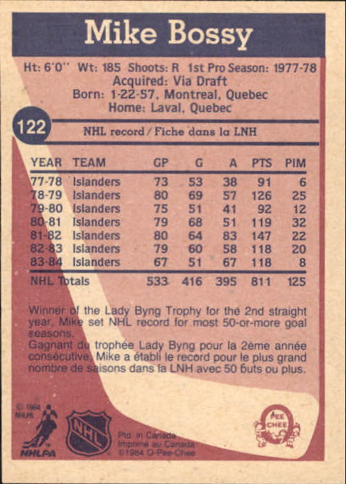 1984-85 O-Pee-Chee #122 Mike Bossy back image