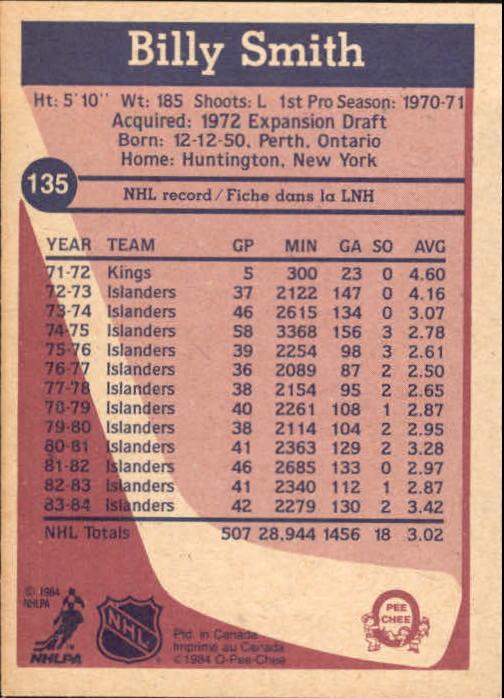 1984-85 O-Pee-Chee #135 Billy Smith back image