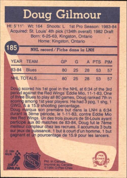 1984-85 O-Pee-Chee #185 Doug Gilmour RC back image