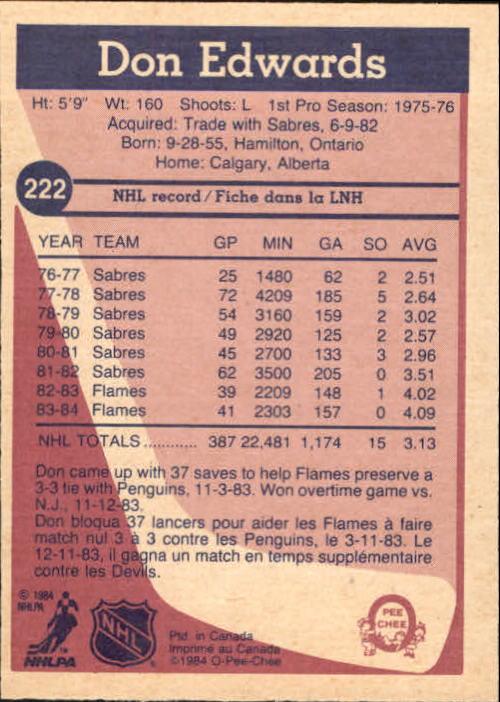 1984-85 O-Pee-Chee #222 Don Edwards back image