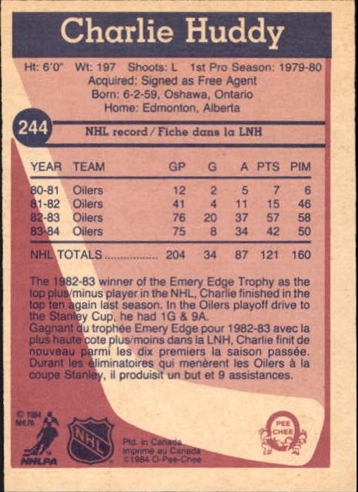 1984-85 O-Pee-Chee #244 Charlie Huddy back image