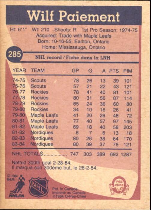 1984-85 O-Pee-Chee #285 Wilf Paiement back image