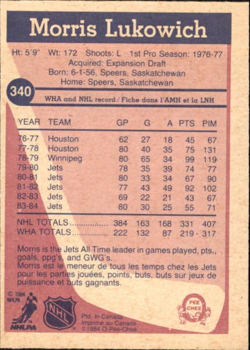 1984-85 O-Pee-Chee #340 Morris Lukowich back image