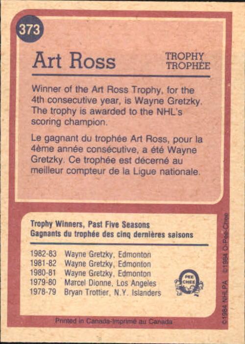 1984-85 O-Pee-Chee #373 Wayne Gretzky Ross back image