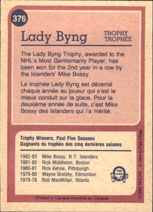 1984-85 O-Pee-Chee #376 Mike Bossy Byng back image