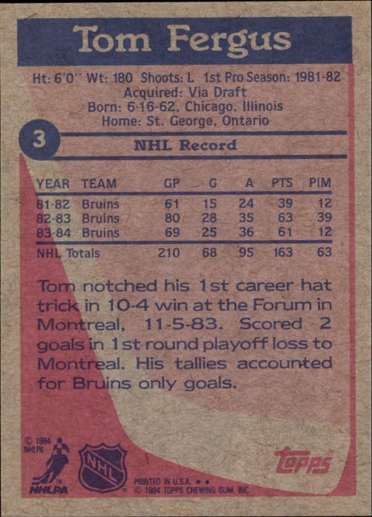 1984-85 Topps #3 Tom Fergus back image