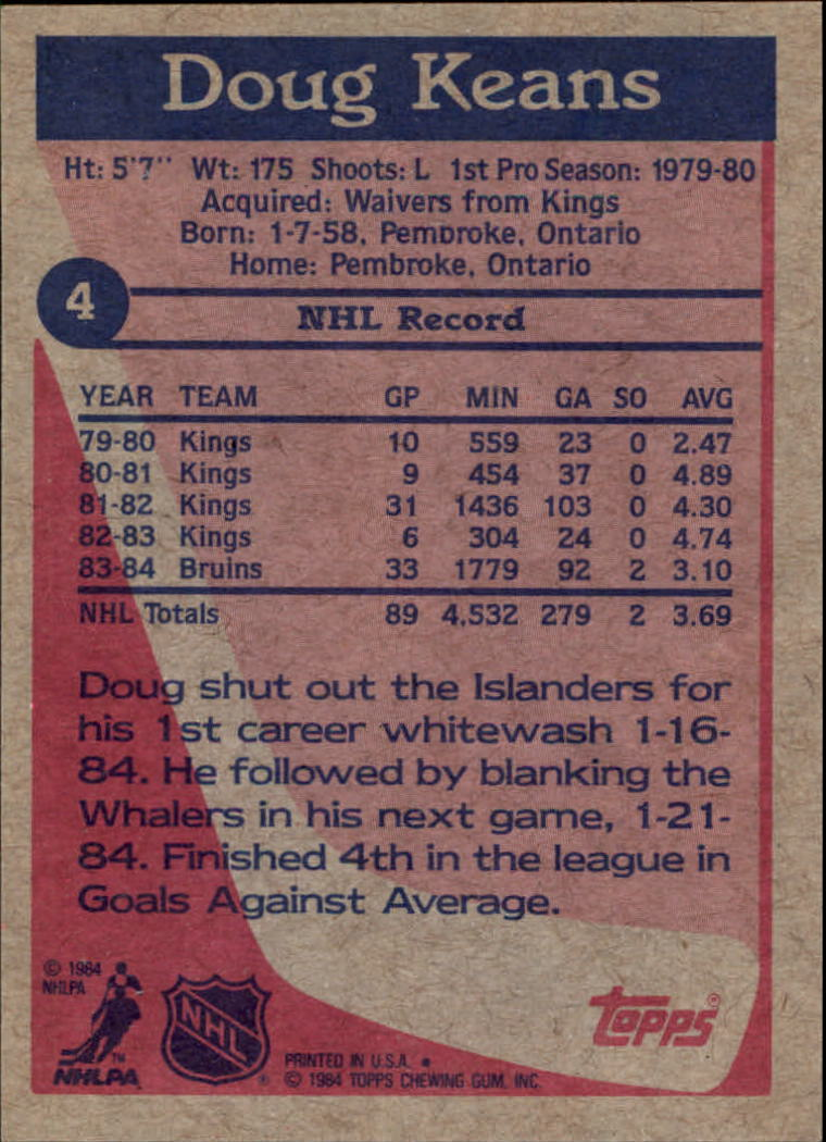 1984-85 Topps #4 Doug Keans RC back image