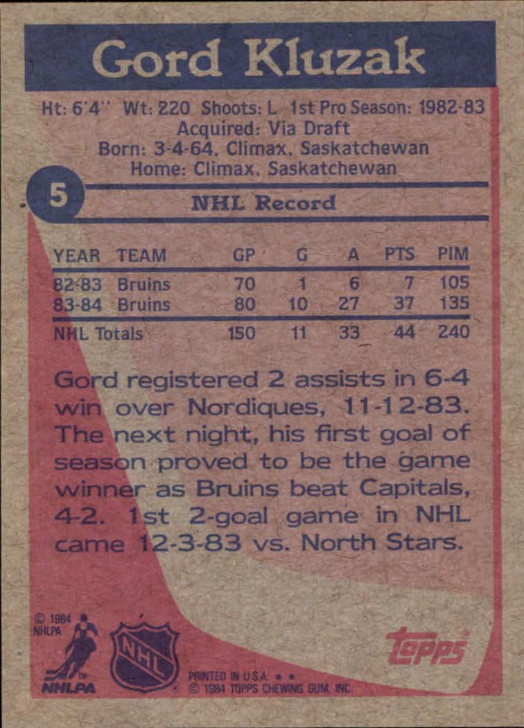 1984-85 Topps #5 Gord Kluzak SP back image