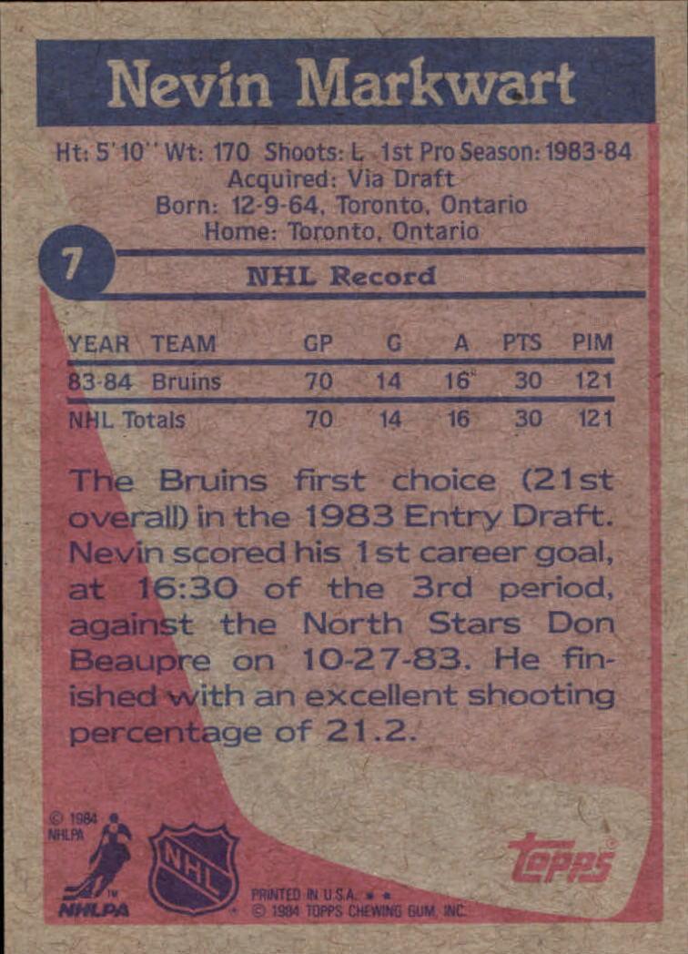 1984-85 Topps #7 Nevin Markwart RC back image
