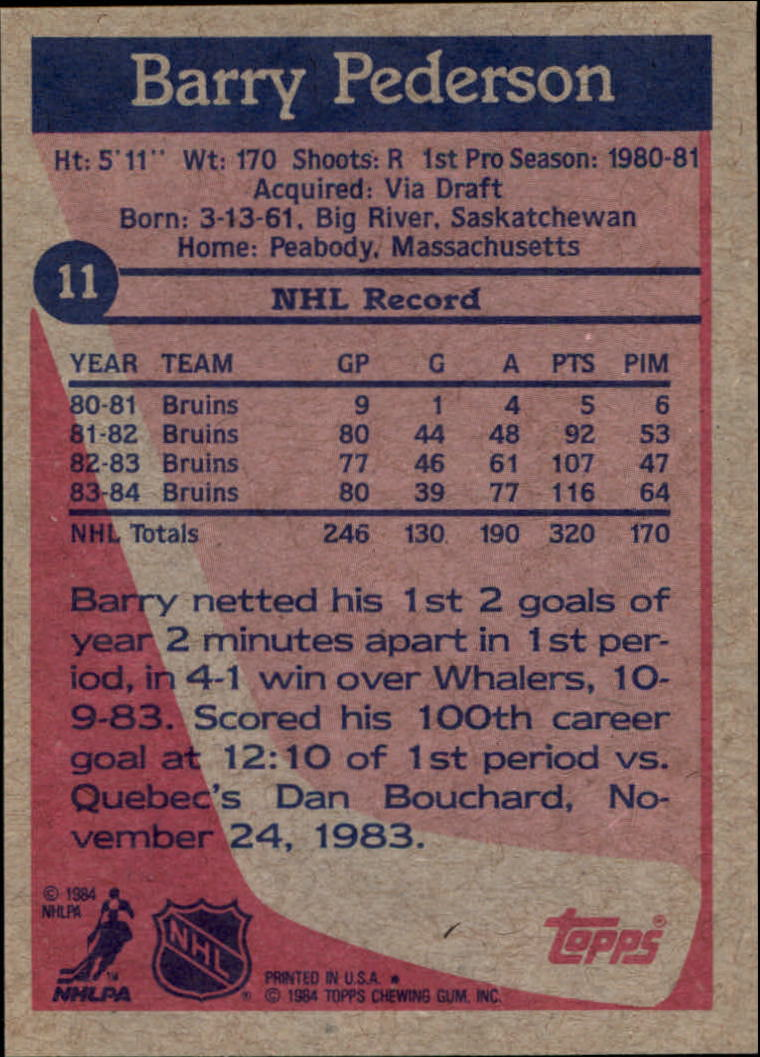 1984-85 Topps #11 Barry Pederson back image