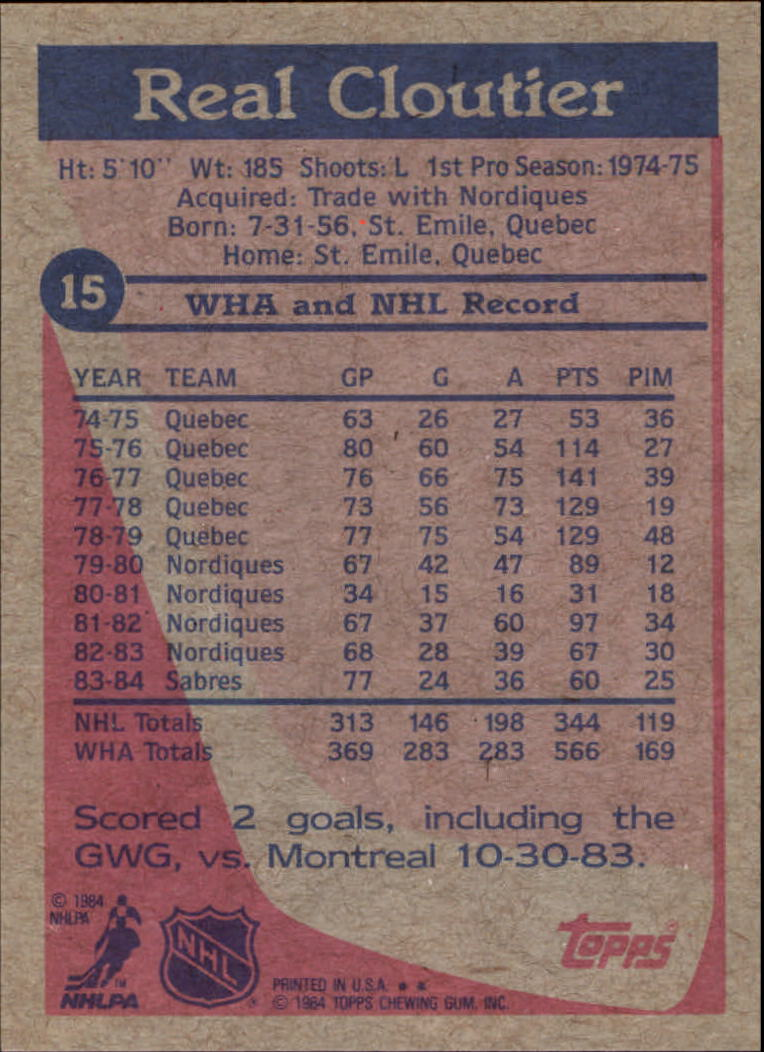 1984-85 Topps #15 Real Cloutier SP back image