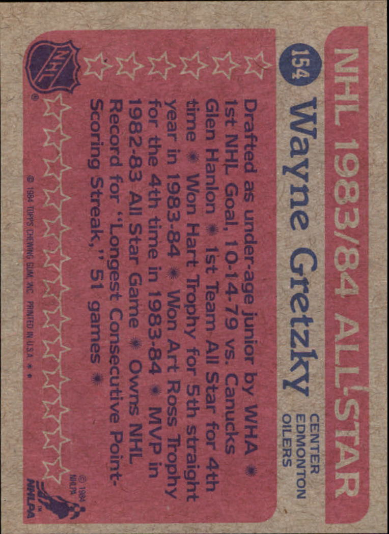 1984-85 Topps #154 Wayne Gretzky AS back image